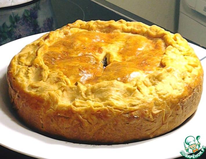 Рецепт: Сочный пирог с мясом и грибами