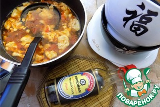 Рецепт: Томатный суп с яичными лепестками