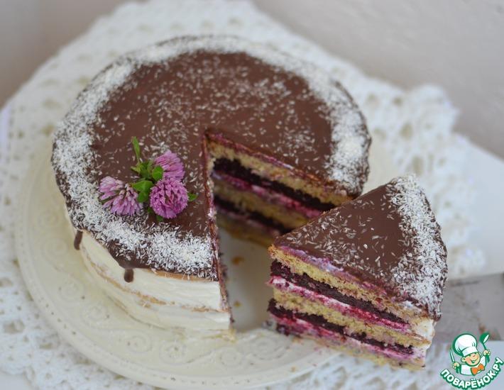 Рецепт: Ванильный торт с ягодным компоте