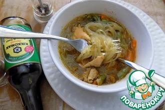 Рецепт: Овощной суп с курицей и фунчозой