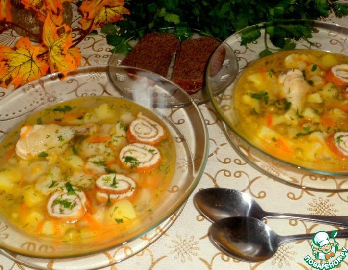 Рецепт: Куриный суп с омлетом и овощами
