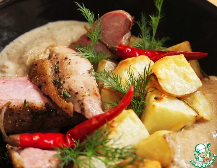Рецепт: Утиная грудка с картофелем в духовке