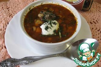 Рецепт: Мясной суп с фасолью и рисом