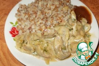 Рецепт: Куриные желудки в молочном соусе