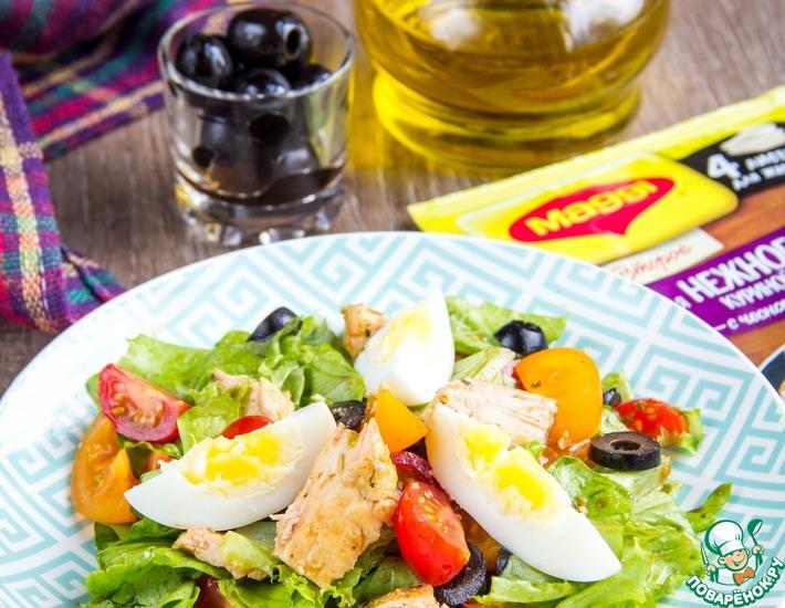 Рецепт: Салат с курицей и овощами