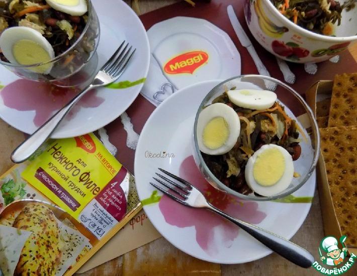 Рецепт: Салат с морской капустой и курицей