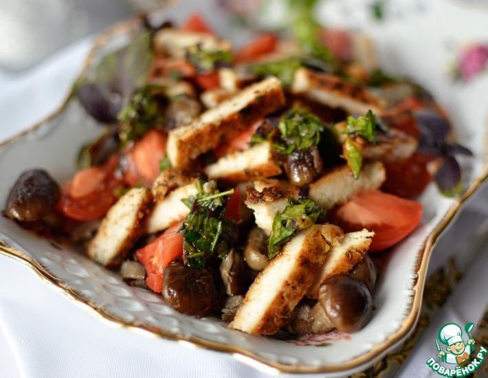 Рецепт: Салат с опятами и ароматной курицей