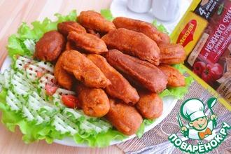 Рецепт: Пряные куриные палочки в кукурузном кляре