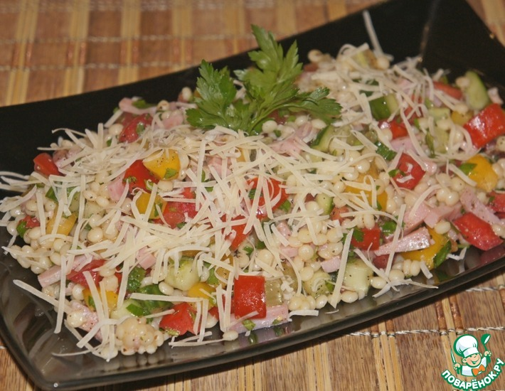 Рецепт: Салат из птитима с ветчиной