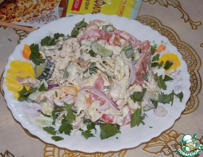 Рецепт: Салат овощной с курицей