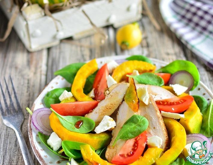 Рецепт: Куриный салат с печеной тыквой