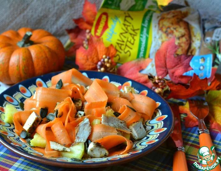 Рецепт: Морковно-ананасовый салат с куриной грудкой