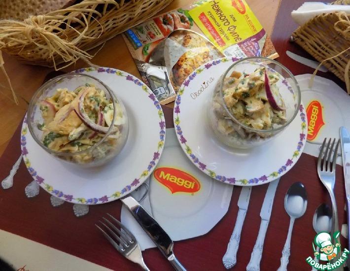 Рецепт: Куриный салат с маринованными шампиньонами