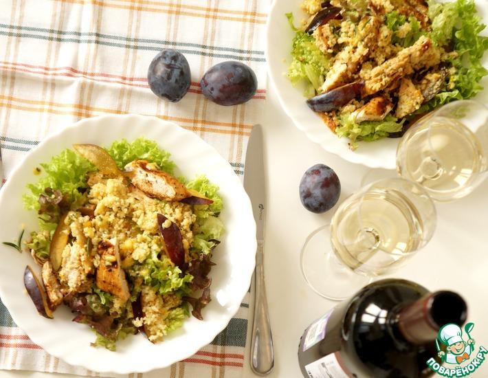 Рецепт: Тёплый салат с курицей и сливами