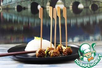 Рецепт: Азиатские мясные фрикадельки в соусе