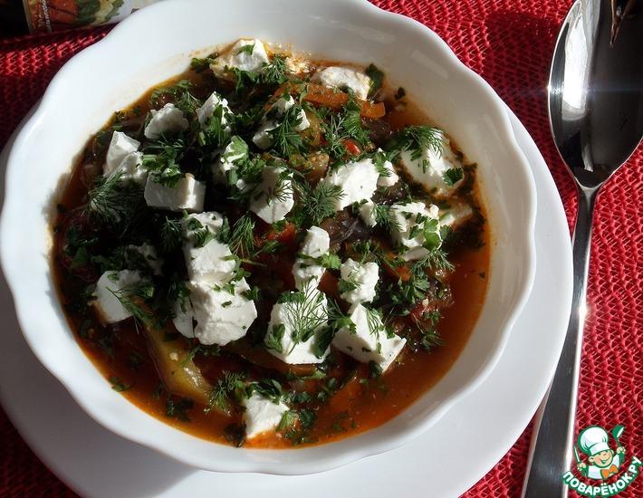 Рецепт: Овощное рагу с творожным сыром