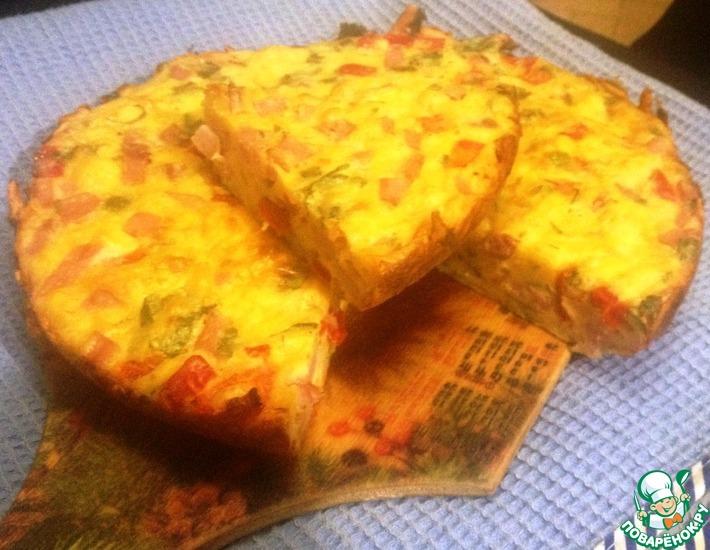 Рецепт: Сырный пирог с перцем и ветчиной