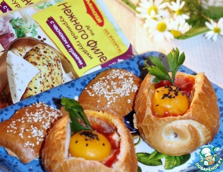 Рецепт: Хрустящие булочки с овощами и курицей