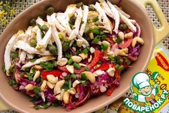 Рецепт: Салат с курицей и краснокочанной капустой