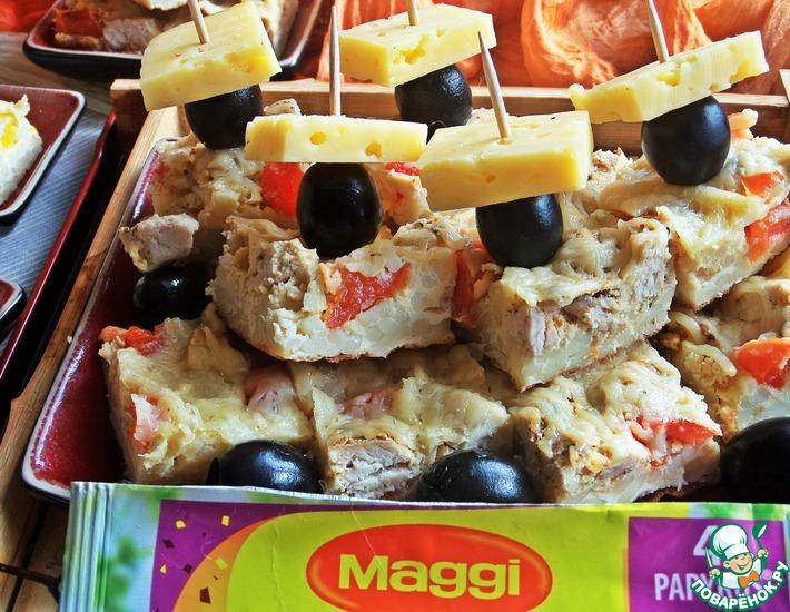 Рецепт: Тёплая закуска из курицы и спагетти