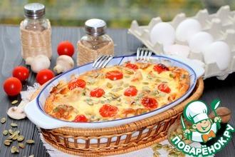 Рецепт: Омлет с куриным филе и шампиньонами
