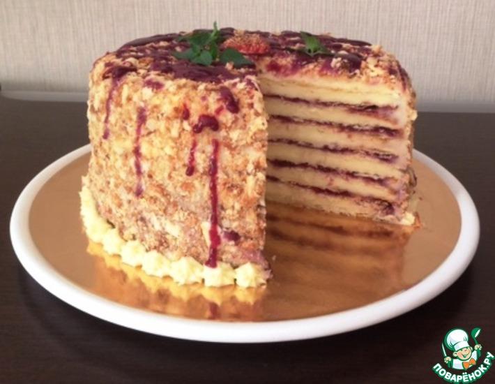 Торт «Наполеон» с курдом из смородины