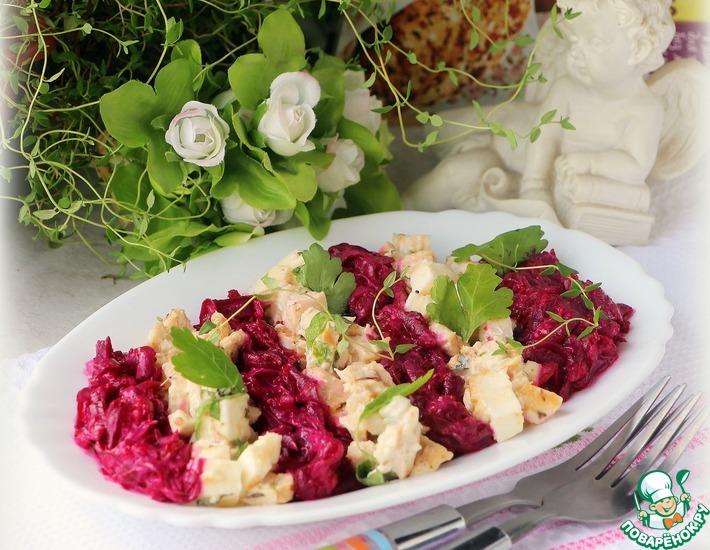 Рецепт: Полосатый салат с курицей