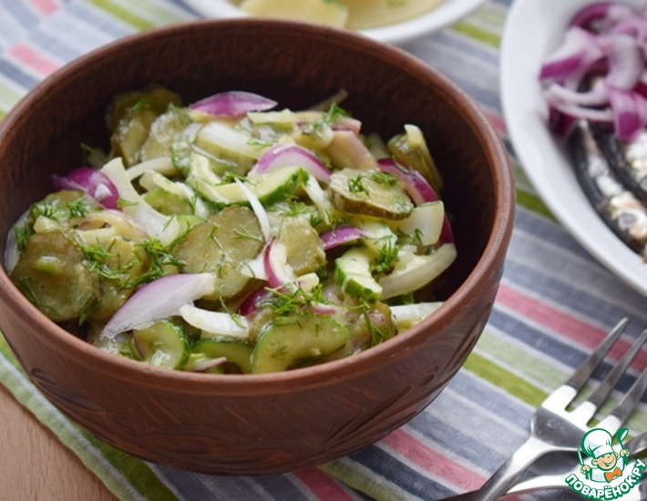 Рецепт: Салат из трех видов огурцов