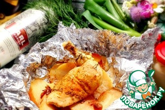 Рецепт: Курица, запечённая в фольге