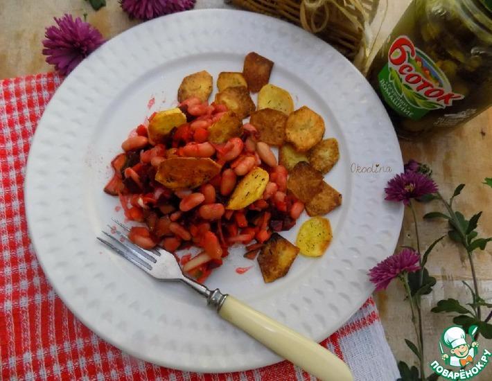Рецепт: Винегрет с фасолью и острым огурцом