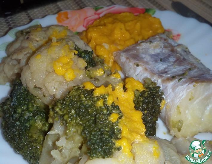 Рецепт: Рыба с овощами и морковным майонезом