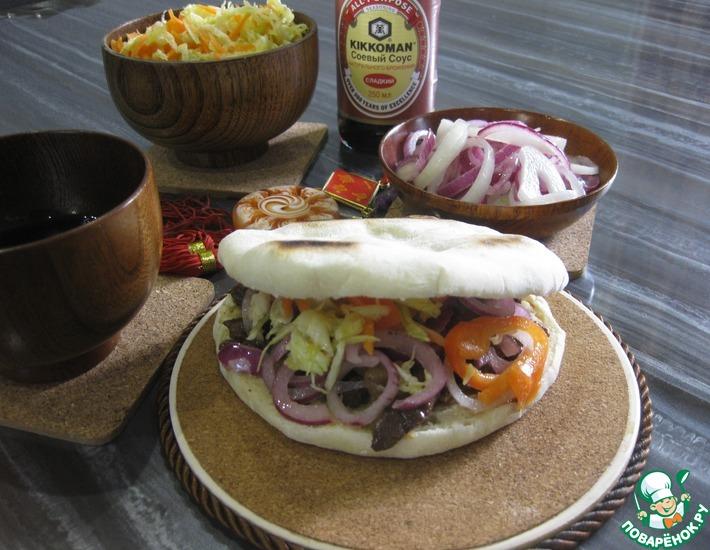 Рецепт: Лепешка с мясом Китайский гамбургер