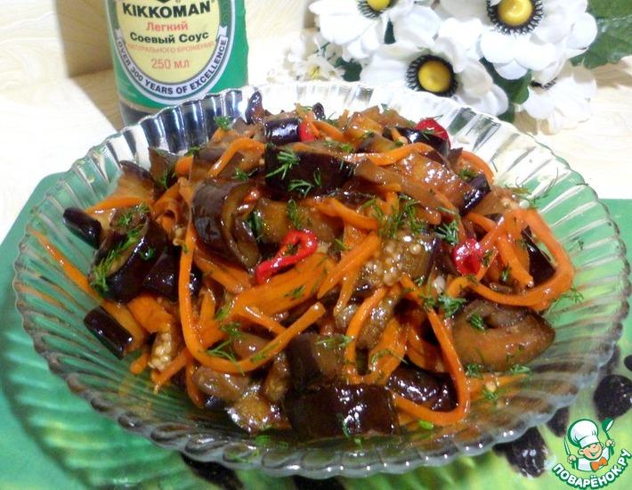 Рецепт: Баклажаны с морковью в соусе
