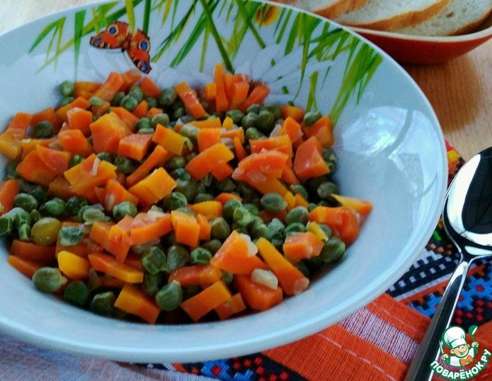 Рецепт: Горох с морковью на гарнир