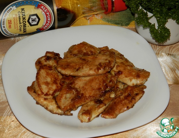 Рецепт: Куриная грудка в яблочно-медовой карамели