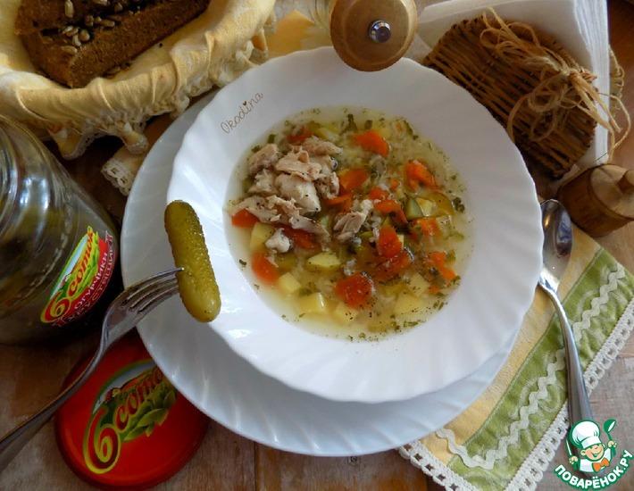 Рецепт: Рассольник с рисом и курицей