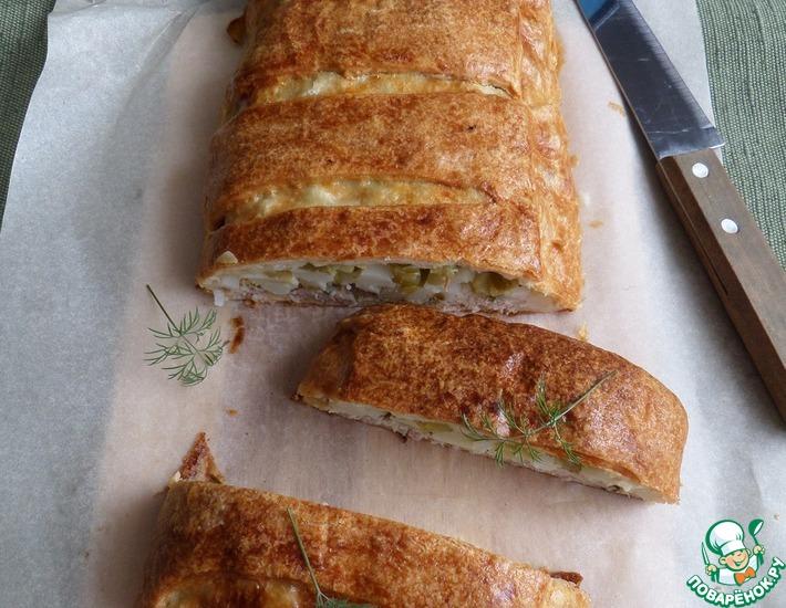 Рецепт: Пирог с мясом, картофелем и огурцами
