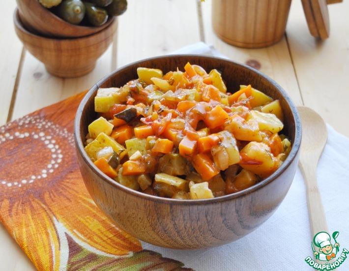Рецепт: Овощное рагу с маринованными огурцами
