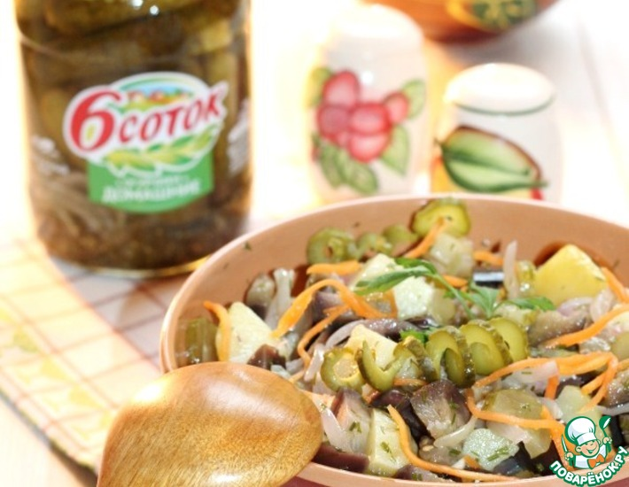 Рецепт: Маринованная баклажанная закуска с картофелем