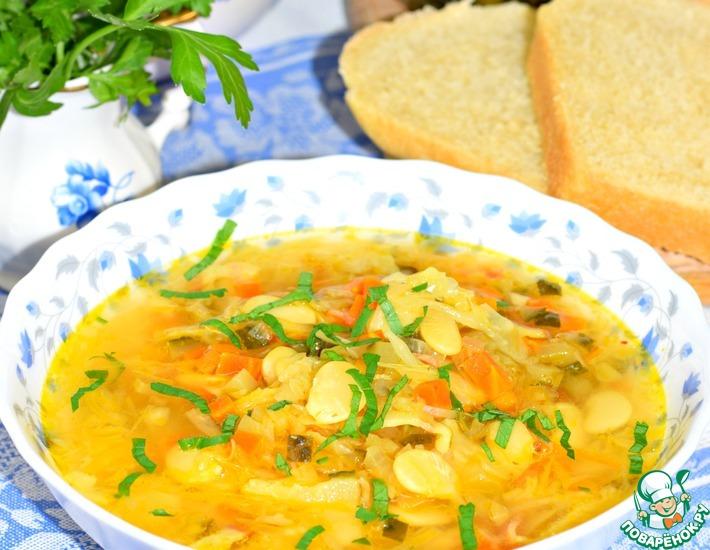 Рецепт: Фасолевый суп с квашеной капустой