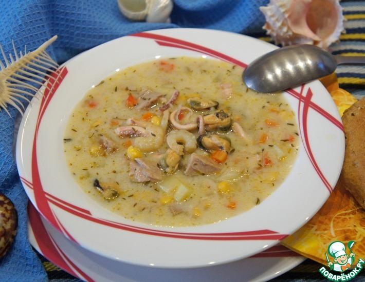 Рецепт: Тихоокеанский суп с морепродуктами и тунцом