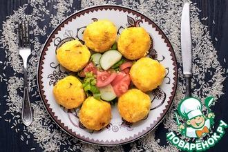 Рецепт: Рисовые шарики с начинкой Куббе
