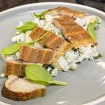 Немецкий салат с копченой рыбой