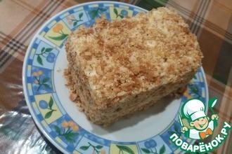 Рецепт: Бисквитное пирожное с кремом из ряженки
