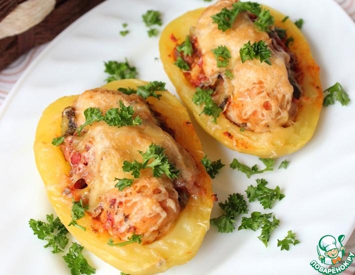 Рецепт: Запеченный картофель с фрикадельками
