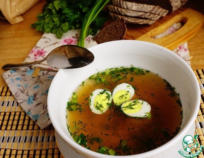 Рецепт: Базовый куриный бульон с перепелиными яйцами