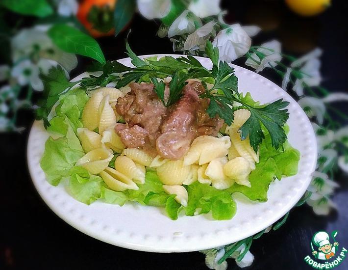 Рецепт: Куриная печень в бархатном соусе