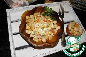 Рецепт: Салат из печени трески с гренками