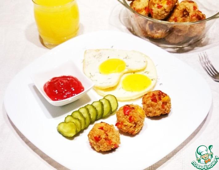 Рецепт: Фрикадельки из индейки с овощами и хлопьями