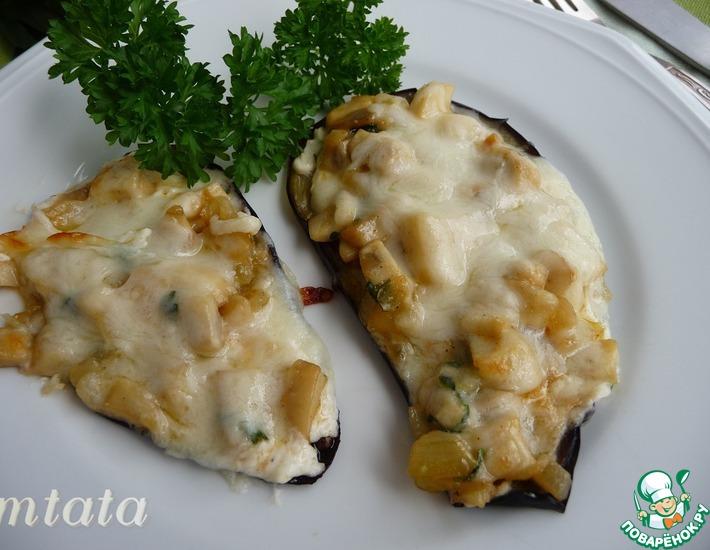 Рецепт: Баклажаны, запеченные с грибами